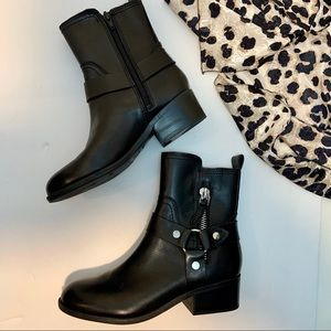 Marc Fisher Dalary Black Leather Moto Boots 6.5